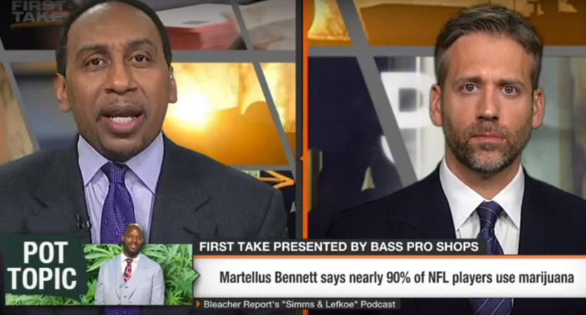 Stephen A. Smith went off on Martellus Bennett for comments about NFL players' marijuana use.