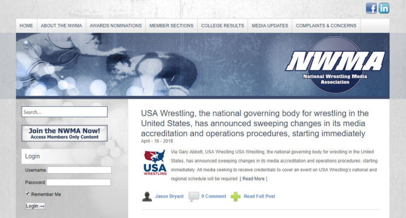 The National Wrestling Media Association is siding with USA Wrestling on their new policy of mandatory background checks for journalists.