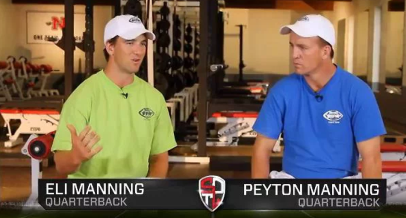 The Manning brothers in a Manning Passing Academy ad.