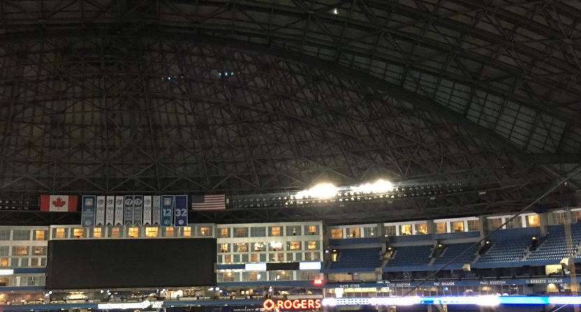 A hole in the roof at Toronto's Rogers Centre put Monday's game in doubt.