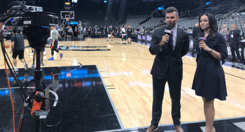 Spero Dedes and Stephanie Ready calling a NBA on TNT VR game.