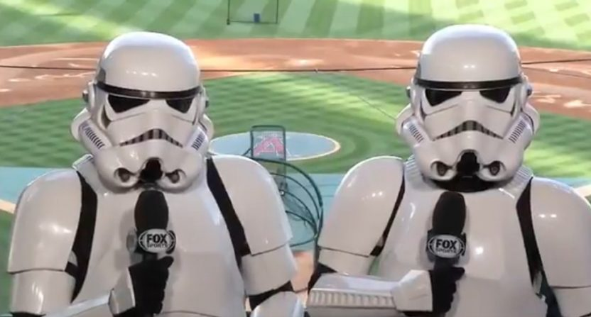 Angels' broadcasters Victor Rojas and Mark Gubicza got into the Star Wars Night spirit Friday.