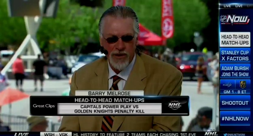 Barry Melrose on the NHL Network set in Vegas.