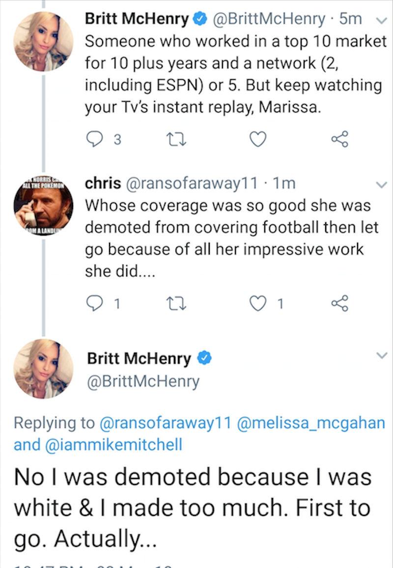 A screenshot of Britt McHenry's tweets Thursday.