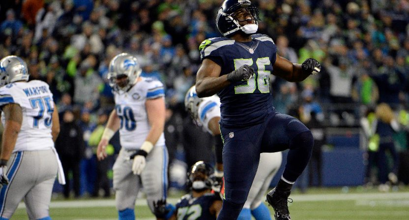 Cliff Avril celebrating after a January 2017 sack of Matthew Stafford.
