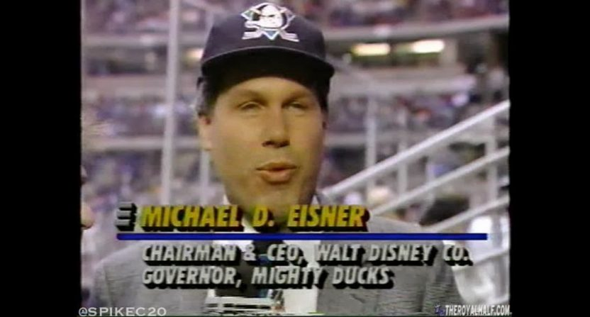 Michael Eisner at a Ducks' game.
