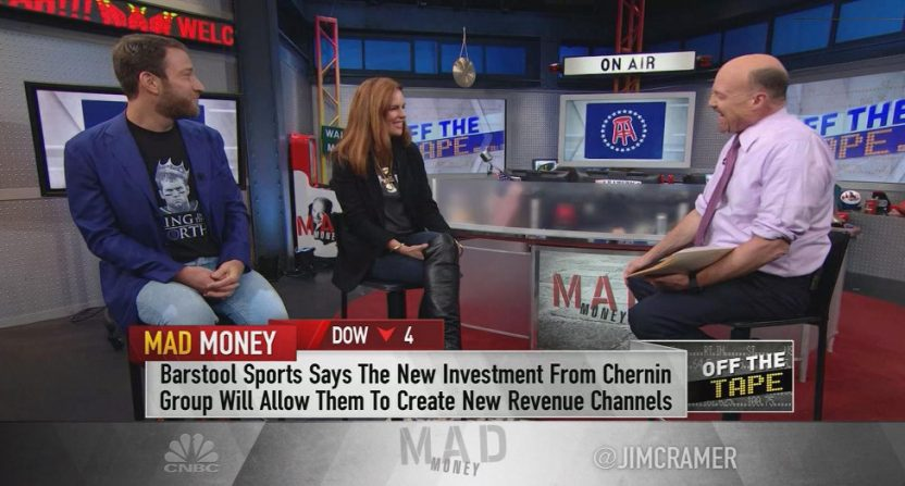 Barstool Sports executives Dave Portnoy and Erika Nardini talking to CNBC's Jim Cramer in January about extra funding from parent company Chernin Group.