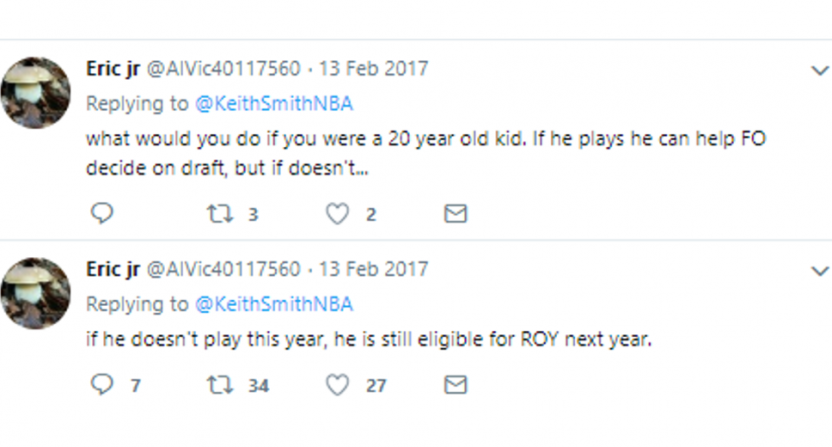 Bryan Colangelo's burner account had thoughts on Ben Simmons.