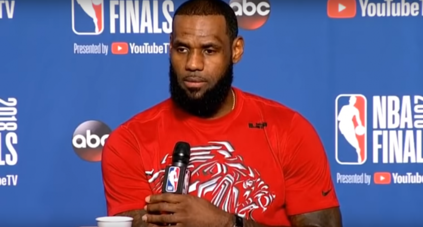 LeBron James during a NBA FInals media session Tuesday.