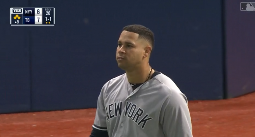 Gary Sanchez after not hustling to first.