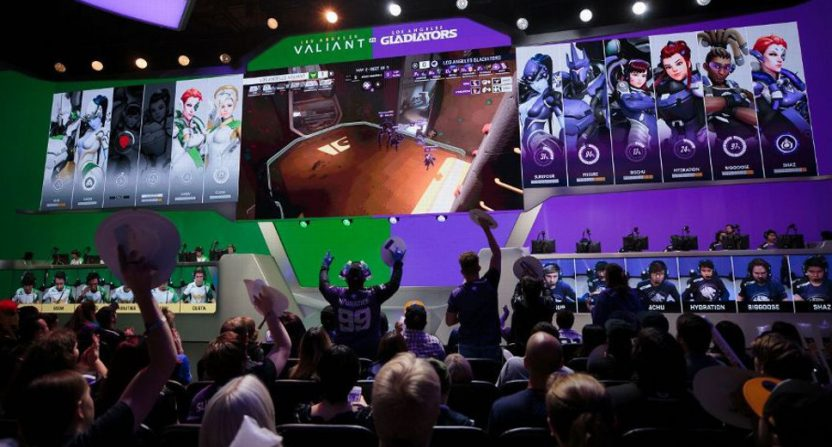 An Overwatch League match between the Los Angeles Gladiators and the Los Angeles Valiant.