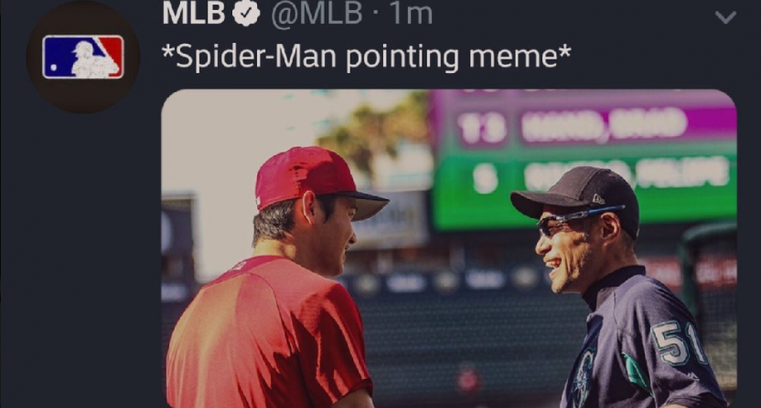 MLB probably shouldn't try the 'Spider-Man pointing' meme ...
