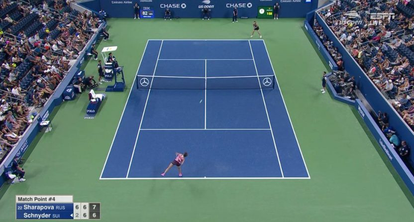 The high camera angle at the U.S. Open.