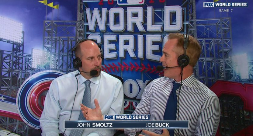 Joe Buck calling the 2016 World Series with John Smoltz.