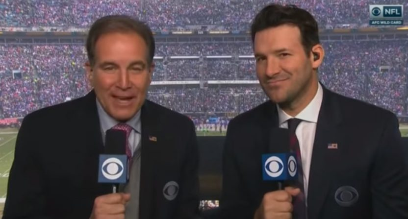 Tony Romo (R) and Jim Nantz on the NFL on CBS.