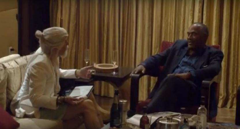 Sacha Baron Cohen interviewing O.J. Simpson.