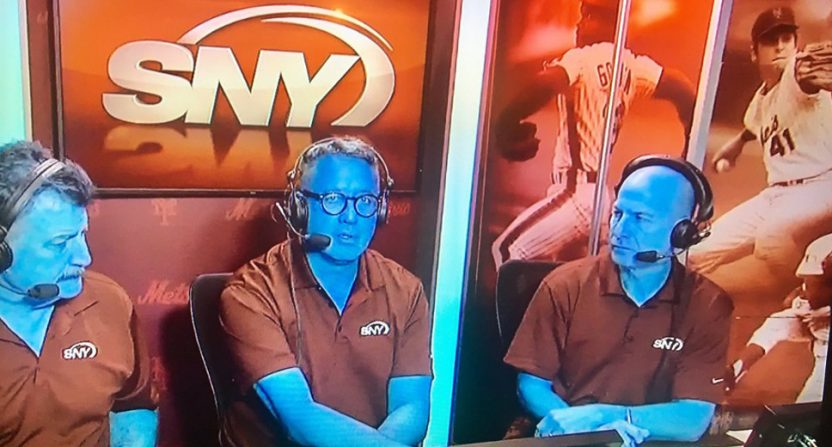 The Mets' announcers were turned blue Tuesday.