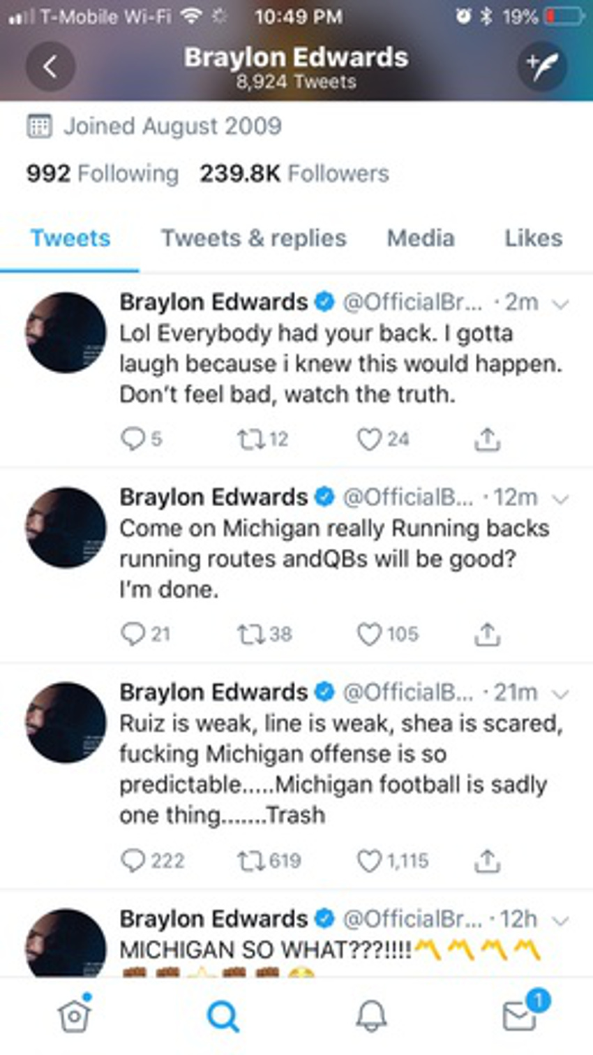 Braylon Edwards' since-deleted tweets.