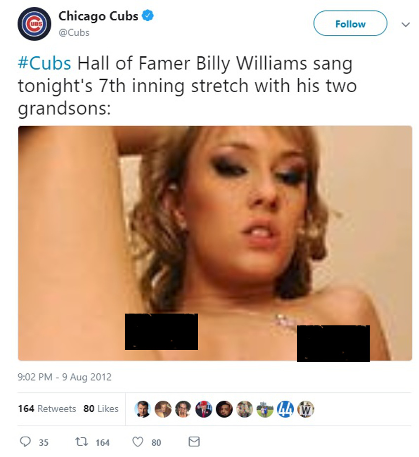 A censored version of the Cubs' tweet.