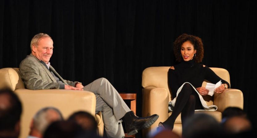 Ed Erhardt (L) and Sage Steele in December 2017.