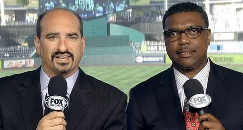 Mario Impemba (L) and Rod Allen on a Fox Sports Detroit Tigers broadcast.