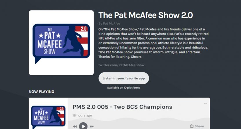 Pat McAfee's new podcast.