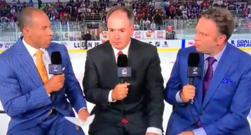 David Amber talking to Pierre Dorion and Elliotte Friedman on Sportsnet.