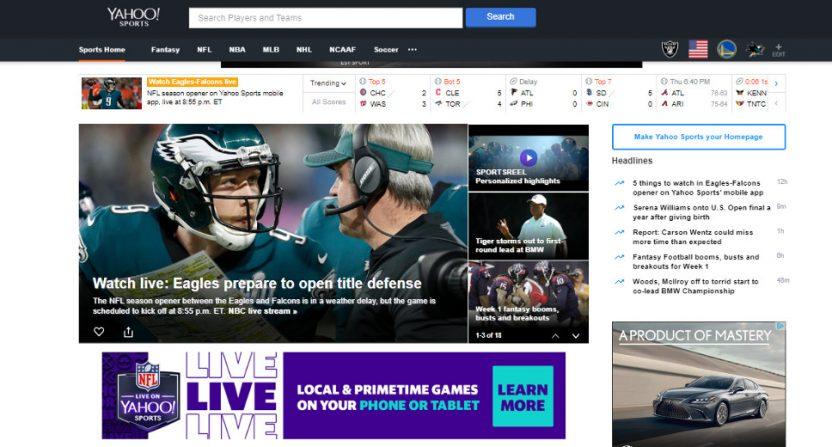 Yahoo NFL streaming.