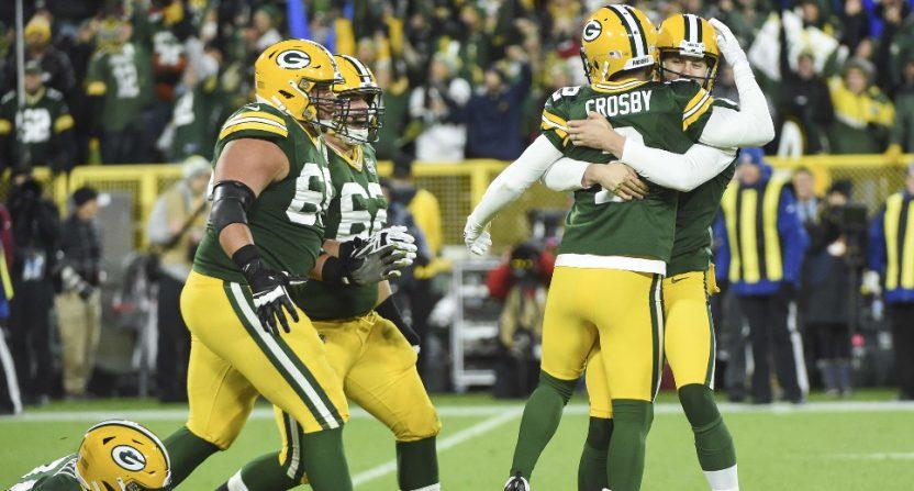 The Packers celebrating Mason Crosby's game-winning FG.