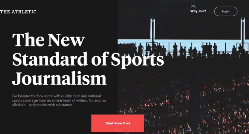 The Athletic's sign-up page.