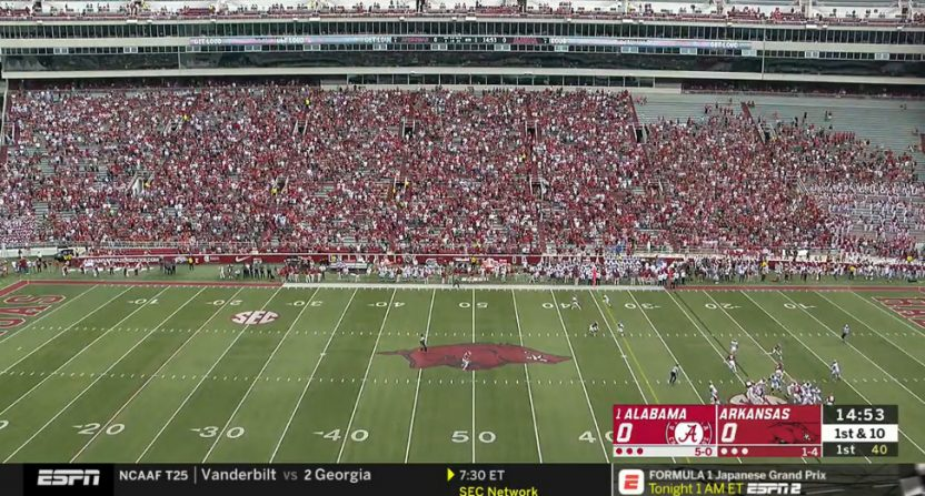 Lightning led to ESPN having to use real wide angles for Alabama-Arkansas.