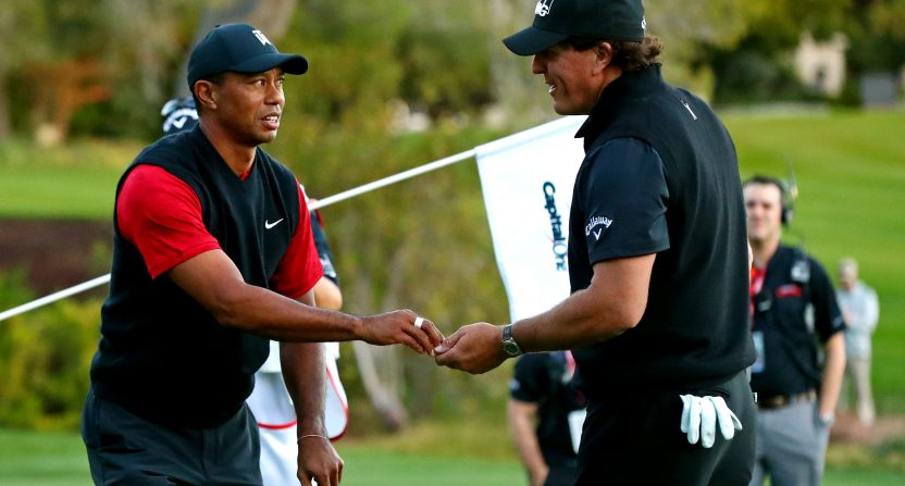 Tiger Woods and Phil Mickelson during the 2018 edition of The Match.