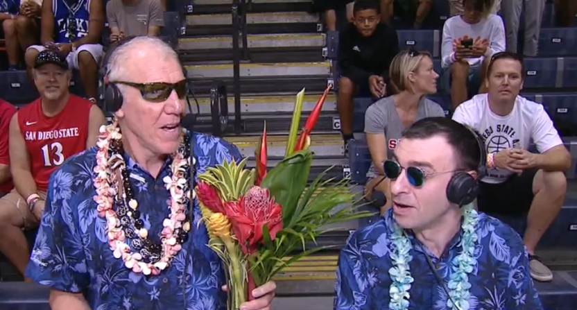 Bill Walton and Jason Benetti at the Maui Invitational.