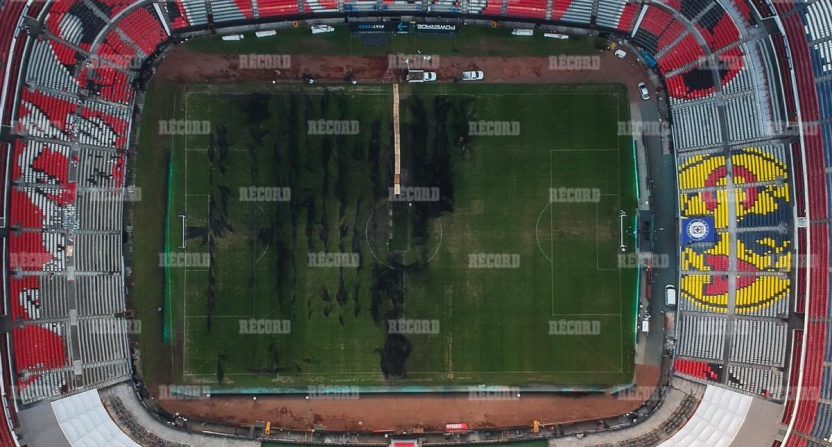A Record photo of damage at Estadio Azteca.