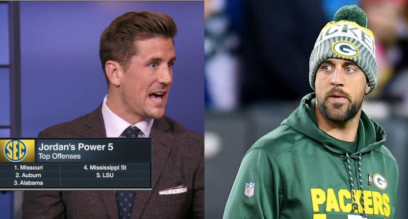 Jordan Rodgers (L) and Aaron Rodgers.