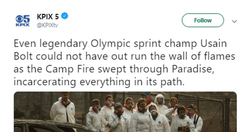KPIX's tweet about Usain Bolt.