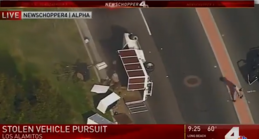 This chase ended with a flipped truck and a lot of narrator enthusiasm.