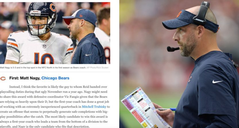 Bears' OC Mark Helfrich is on the left, Bears' HC Matt Nagy is on the right.