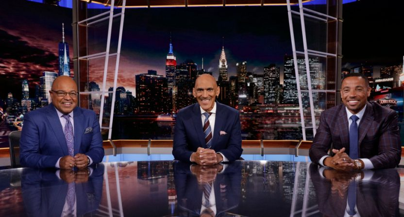Mike Tirico, Tony Dungy and Rodney Harrison on Football Night In America.