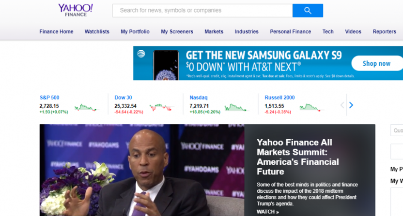 The Yahoo Finance homepage on Nov. 13, 2018.