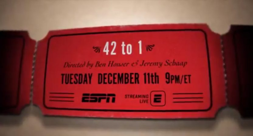 42 to 1 premieres Tuesday. Co-director Jeremy Schaap spoke to AA about the project.