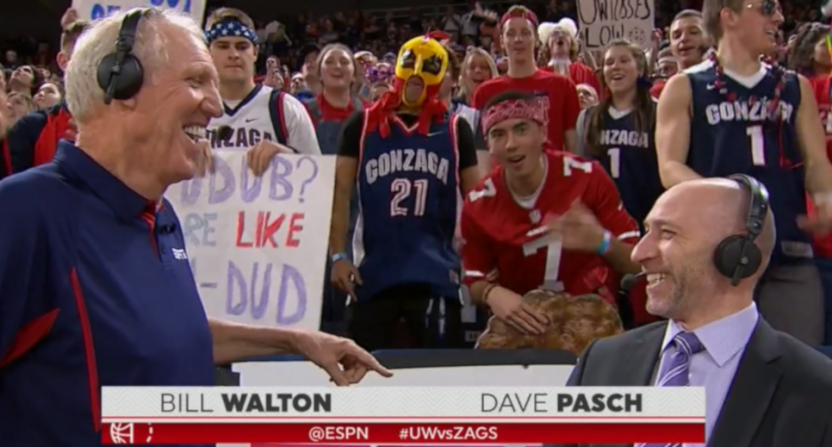 Bill Walton's commentary on Washington-Gonzaga brought up Larry Craig.