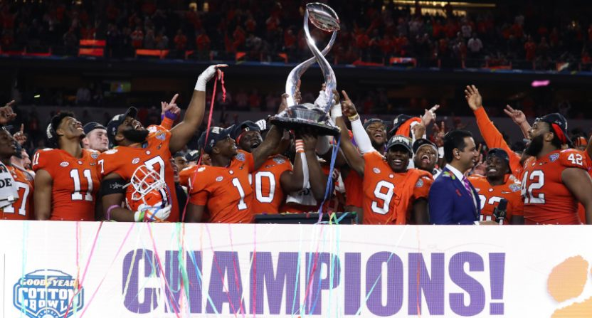 Clemson players celebrating a 2018 College Football Playoff semifinal win in the Cotton Bowl.