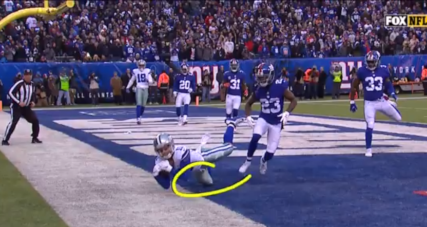 "Cole Beasley's catch, granted on review, proved Kevin Burkhardt's ""And the Giants will win it!"" call wrong."