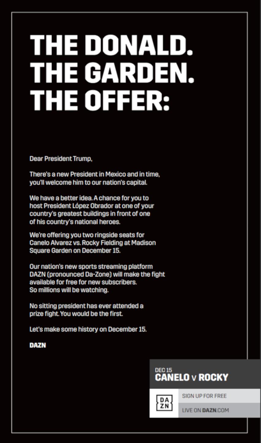 DAZN's Trump ad.