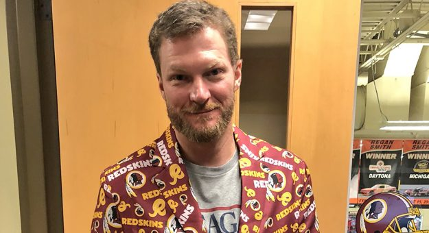 Dale Earnhardt Jr. in a Redskins' jacket.