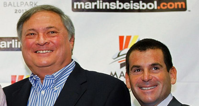 Jeffrey Loria (L) and David Samson.