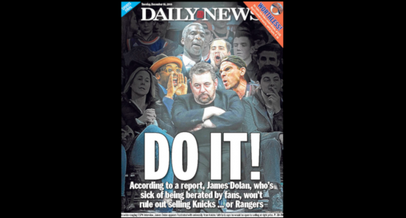 The Knicks barred a NYDN reporter from a press conference shortly after this cover.