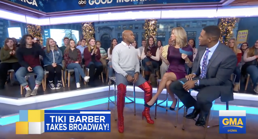 Tiki Barber will be calling an AAF game in February. Probably not in his Kinky Boots.