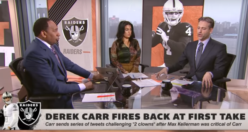 First Take responding to criticism from Derek Carr.